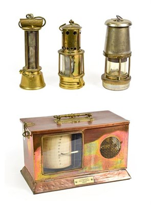 Lot 3073 - J H Steward Ltd Mining Barograph in copper case with padlock stamped 'WR' together with three...