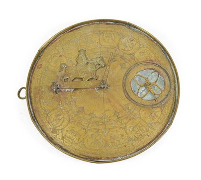Lot 3076 - Persian Brass Sundial/Compass 9 1/4'' diameter with astrological symbols and other decorations...