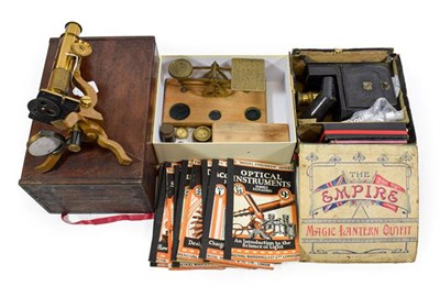 Lot 3078 - Various Instruments including a Student microscope (cased) The Empire Magic Lantern Outfit (in...