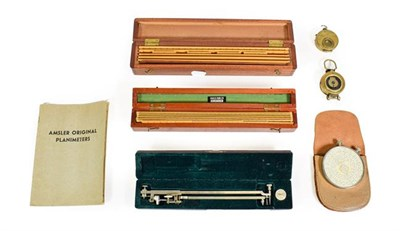 Lot 3081 - Various Instruments two ruler sets one by A J S & Co. the other MMS; Amsler Planimeter with...