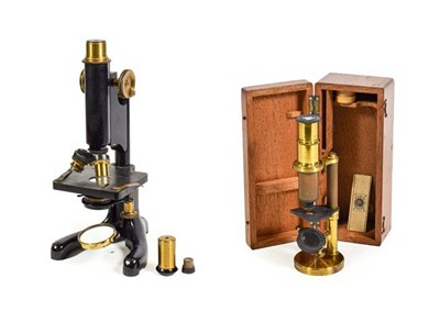 Lot 3083 - R & J Beck (London) Microscope Model 22 no.3406, with two lens turret, condenser, fine/course...