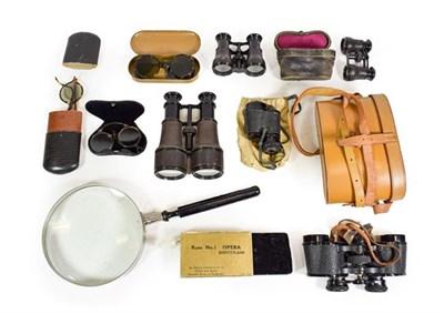 Lot 3085 - Binoculars Ross Stepnada (cased) Rand No.1 Opera Binoculars (boxed) another pair and two pairs...