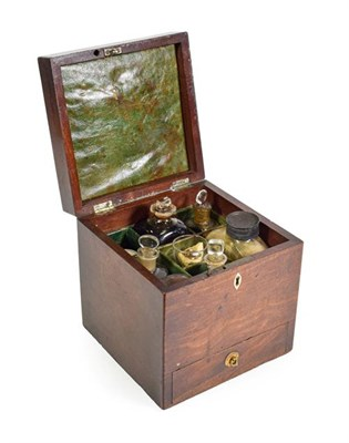 Lot 3088 - A George III Mahogany Apothecary Box with brass carrying handles and drawers fitted with...