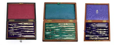 Lot 3093 - Drawing Instrument Sets (i) Elliott Bros (London) in two layer case with ivory rule and three...