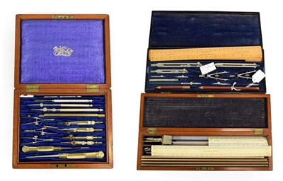 Lot 3094 - Drawing Instrument Sets (i) J J Threadwell & Sons (London) in two layer metal box with brass plaque