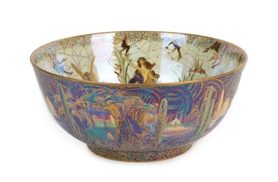 Lot 1002 - A Wedgwood Fairyland Lustre Poplar Trees and Elves and Bell Branch Imperial Bowl, designed by Daisy