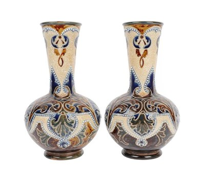 Lot 1003 - Eliza Simmance (working 1873-1928): A Pair of Doulton Lambeth Stoneware Vases, decorated with...