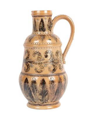 Lot 1004 - A Doulton Lambeth Salt Glazed Stoneware Jug, by Emily J Edwards, decorated with repeating...