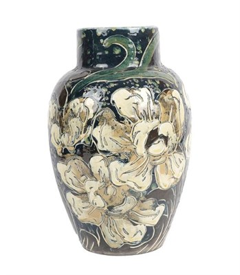 Lot 1011 - A Thomas Forester & Sons Ltd Pottery Baluster Vase, painted with white flowers, printed factory...
