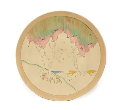 Lot 1017 - Clarice Cliff (1899-1972): A Taormina Circular Wall Plaque, printed marks, 45cm diameter See...