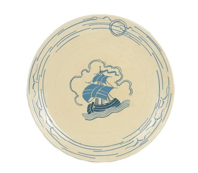 Lot 1019 - A Crown Ducal Charger, by Charlotte Rhead, decorated with a galleon in full sail, printed...