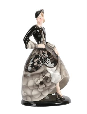 Lot 1021 - An Art Deco Goldscheider Pottery Figure, by Claire Weiss, modelled as a woman wearing a floral...