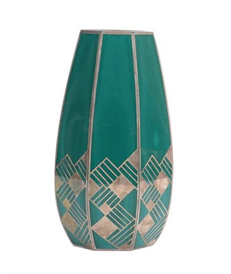 Lot 1026 - An Art Deco Continental Faceted Malachite Glass Vase, with repeating silver overlay decoration,...