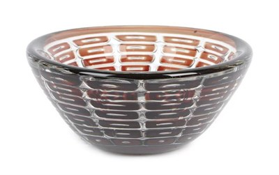 Lot 1027 - Edvin Öhrström (1906-1994) for Orrefors Ariel Glass Bowl, the thick glass wall with radiating...