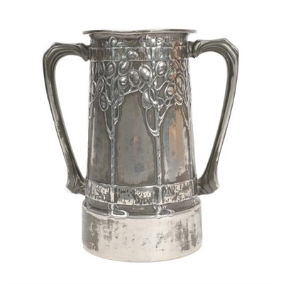 Lot 1031 - David Veasey for Liberty & Co: A Pewter Twin-Handled Loving Cup, covered by honesty and verse...