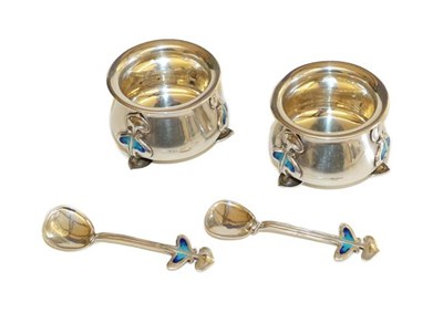 Lot 1032A - A Pair of Arts & Crafts Silver and Enamel Salt Cellars and Spoons, by George Houston, the salts...