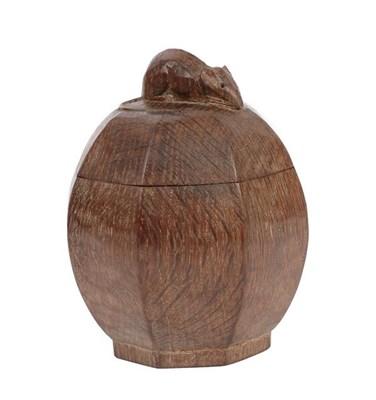 Lot 1046 - Robert Mouseman Thompson (1876-1955): An English Oak Powder Bowl and Cover, circa 1948, of...