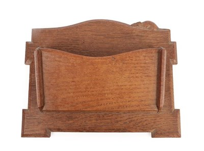 Lot 1047 - Robert Mouseman Thompson (1876-1955): An English Oak Wall Mounted Letter Rack, probably made by Len