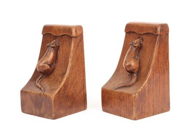 Lot 1052 - Robert Mouseman Thompson (1876-1955): A Pair of English Oak Single Mouse Bookends, with wavy...