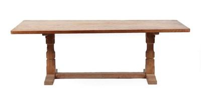 Lot 1056 - Workshop of Robert Mouseman Thompson (Kilburn): An English Oak 7ft Refectory Dining Table, the...