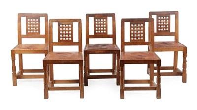 Lot 1057 - Workshop of Robert Mouseman Thompson (Kilburn): A Set of Ten (8+2) English Oak Lattice Back...