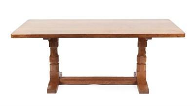 Lot 1061 - Workshop of Robert Mouseman Thompson (Kilburn): An English Oak 6ft Refectory Dining Table, the...