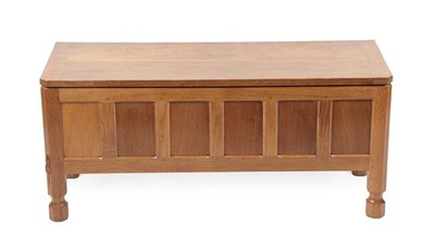 Lot 1069 - Workshop of Robert Mouseman Thompson (Kilburn): An English Oak Panelled Blanket Chest,...