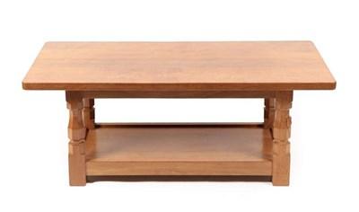 Lot 1074 - Workshop of Robert Mouseman Thompson (Kilburn): An English Oak 4ft Coffee Table, the...