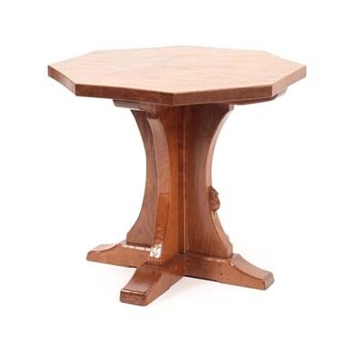 Lot 1076 - Workshop of Robert Mouseman Thompson (Kilburn): An English Oak Octagonal Coffee Table, adzed...