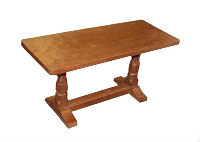 Lot 1090 - Workshop of Robert Mouseman Thompson (Kilburn): An English Oak 3ft Refectory Coffee Table, the...
