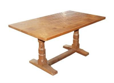 Lot 1094 - Workshop of Robert Mouseman Thompson (Kilburn): A 5ft English Oak Refectory Dining Table, the adzed