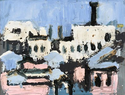 Lot 2080 - Joash Woodrow (1927-2006) ''White Buildings Black Chimney'' Oil on board, 75cm by 98cm  Provenance