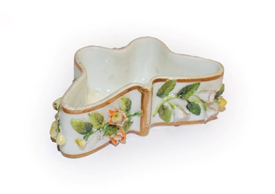 Lot 31 - A Rockingham Porcelain 'Butterfly' box (lacking cover), decorated with applied Dresden flowers,...