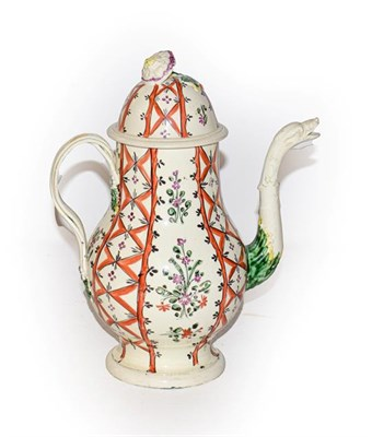 Lot 32 - A late 18th century Leeds Creamware coffee pot and cover, with floral finial, the spout moulded...