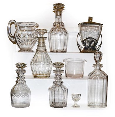 Lot 33 - A tray of mainly antique glass including Georgian decanters, a jug, eye bath, wine rinser and...