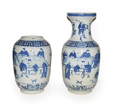 Lot 36 - Pair of late 19th/early 20th century Chinese blue and white vases, decorated with figures in...