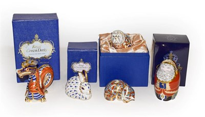 Lot 37 - A Royal Crown Derby Imari paperweights, Sleeping Cat, Bull dog, Duck, Santa Claus and a Rabbit, all