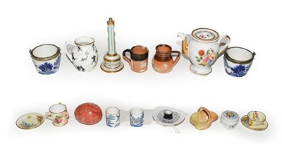 Lot 40 - A quantity of pottery and porcelain miniatures including a Royal Worcester tyg, Paris coffee...