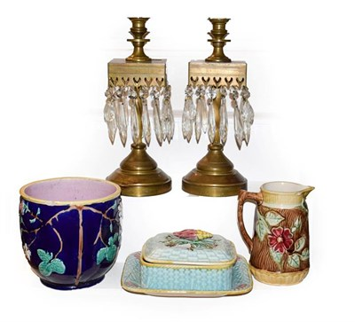 Lot 44 - A 19th century majolica sardine dish and cover, two other majolica jugs and a pair of brass...