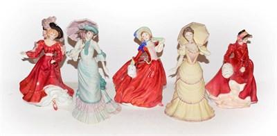 Lot 46 - A quantity of Royal Doulton and Coalport figures, Autumn Breezes HN1934, Louise HN3207,...