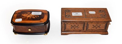 Lot 47 - A modern Swiss cylinder music box in marquetry case, makers Reuge Music, playing the Magic Flute, W