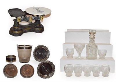 Lot 48 - A tray of glass and silver plate including three pairs of wine coasters, cigar cutter, ice...