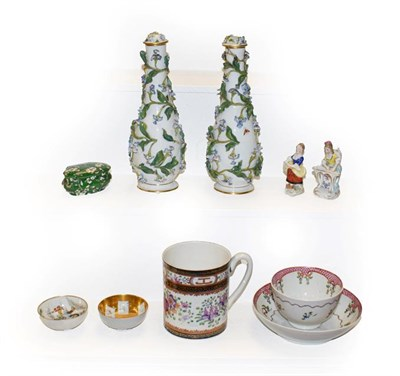 Lot 52 - Pair of 19th century Meissen rose water jars and covers, decorated with applied flowers, a...