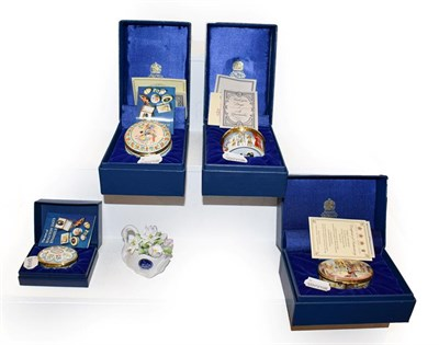 Lot 53 - Three Halcyon Days enamel musical boxes, Barnum & Bailey, Oranges & Lemons, Porgy & Bess, all...