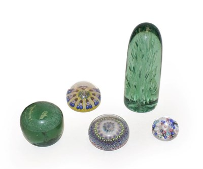 Lot 54 - A Stourbridge dump paperweight together with another similar and three polychrome paperweights (one