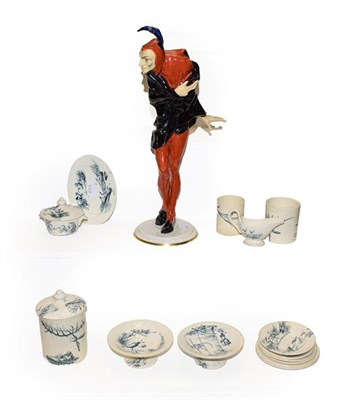 Lot 55 - A Hutschereuther porcelain figure of Mephistopheles and a Luneville pottery part doll's tea...