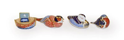 Lot 57 - Royal Crown Derby Imari paperweights, Robin, Pheasant, Duck, and Noahs Ark all with original...
