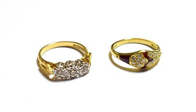 Lot 61 - An 18 carat gold diamond three stone ring, finger size L1/2 and an 18 carat gold red enamel and...