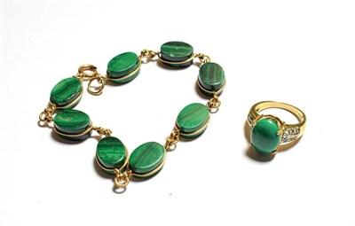 Lot 63 - A malachite bracelet, length 21cm and a 9 carat gold malachite ring, finger size M1/2