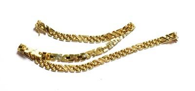 Lot 68 - A 9 carat gold fancy link necklace, length 42.5cm
